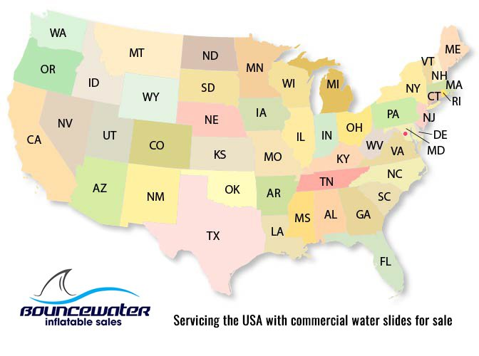 BounceWater commercial water slides for sale in the USA
